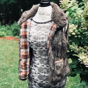 AMERICAN RAG FLANNEL LINED FAUX FUR VEST